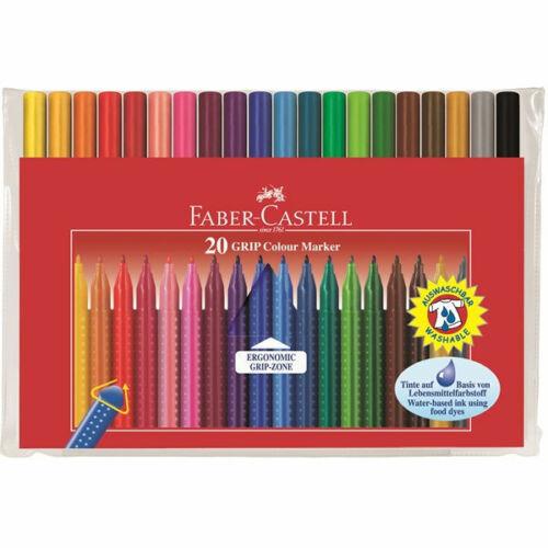 Faber Castell GRIP Colour Marker Pens.Wallet Set of 20 Artist Pens.