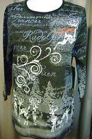 Hillard & Hanson Women's Blouse Sz S Small Christmas Holiday Reindeer 449