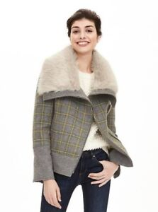 Banana Republic Plaid Moto Jacket With Faux Fur Spread