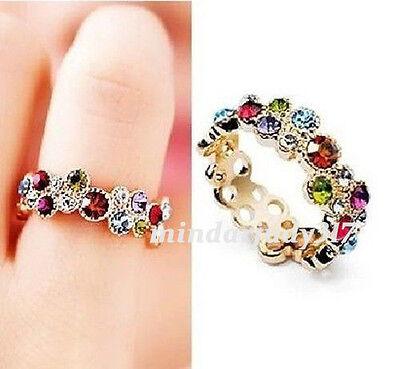18K Rose Gold GP Crystal Multi-crystal Ring Size 6,7,8,9 UP3