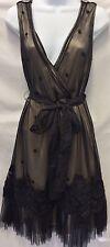BARASCHI Anthropologie Elegant Evening Lace Appliqué Nude Black  Dress Sz 8