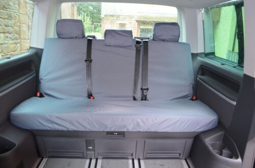 VW Transporter T5 T6 Caravelle 2003 Rear Bench Tailored Grey Seat Covers