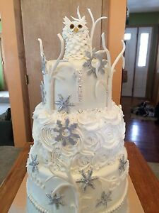 Image Is Loading Edible Fondant Snowy Owl Amp Branches Cake Topper