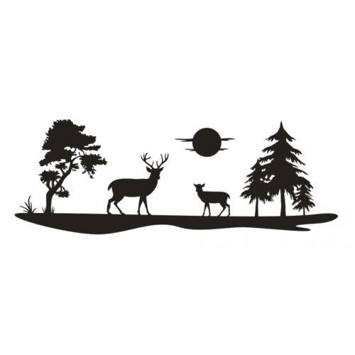 Paysage Autocollant Champ prairie arbres Cerf Chevreuils Cerf Soleil Arbre Film Sticker