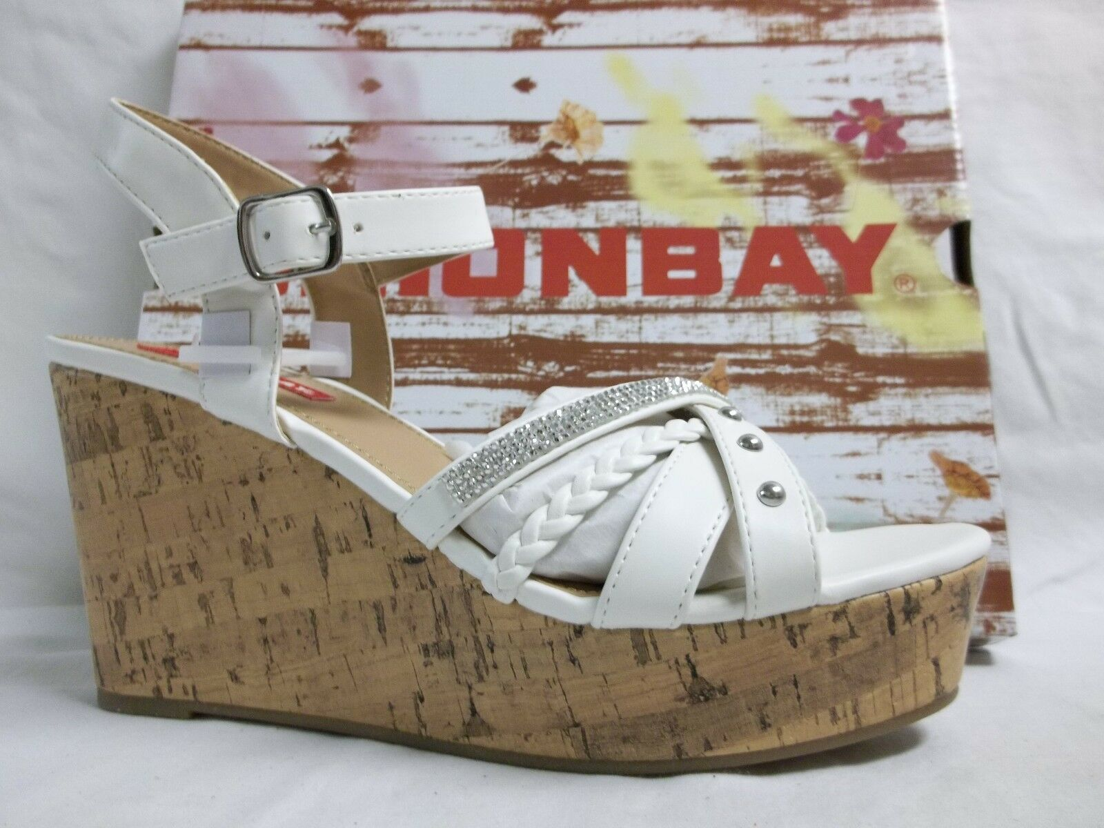 Unionbay Size 8.5 M Starla White Open Toe Wedges New Womens shoes