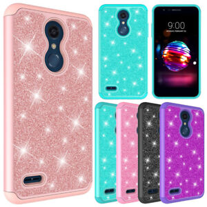 new style dfa9f e14b7 Details about For LG K30 / K10 (2018) Case Glitter Bling Leather Hybrid  Protective Phone Cover