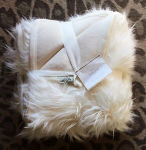 New Pottery Barn Ivory Faux Fur Throw Blanket Quilt 50 X