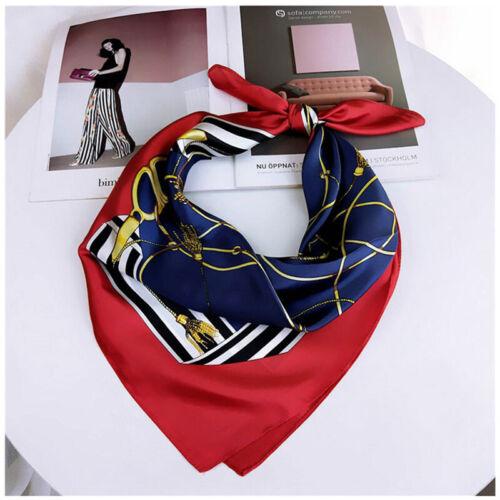 Women Vintage Chain Tassel Print Small Scarf Faux Silk Bandana Tied Band 70*70cm