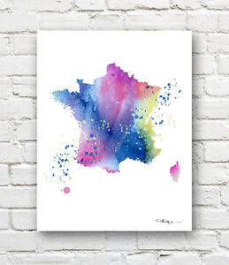 Details About France Map Contemporary Watercolor 11 X 14 Abstract Art Print By Artist Djr