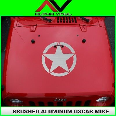 Hood Decal Brushed Aluminum OSCAR MIKE STAR  Jeep Wrangler JK, TJ, YJ Universal