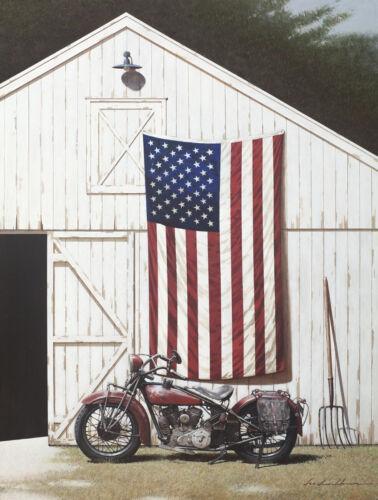 USA AMERICAN FLAG ART PRINT Barn and Motorcycle by Zhen-Huan Lu Poster 20x26
