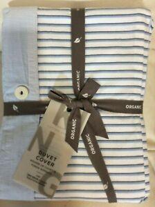West Elm King Organic Washed Cotton Stripe Duvet Kyoto Blue Nwt