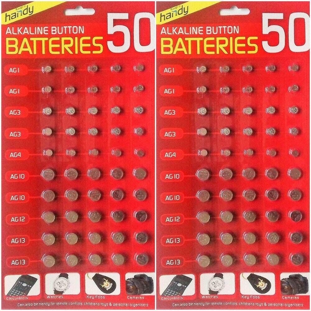 100 Assorted Mixed Alkaline Button Cell Battery 377 AG1 AG3 AG4 AG10 AG12 AG13