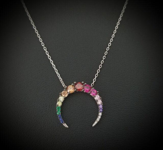 925 Sterling Silver Purple Amethyst & Multi Gem Arc Pendant Necklace