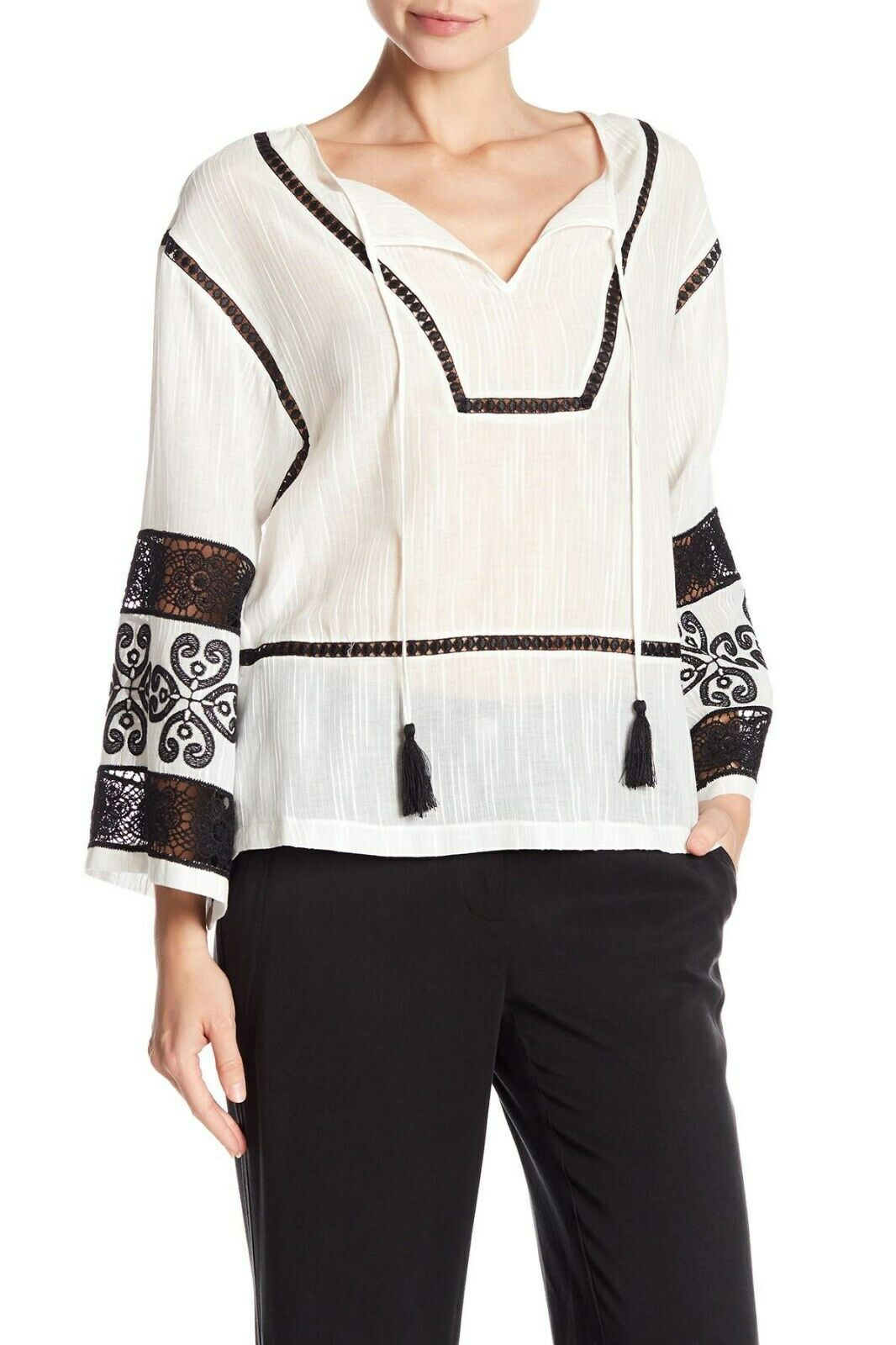 LAUNDRY BY SHELLI SEGAL LONG SLEEVE EMBROIDERED PEASANT TOP NWT SIZE M