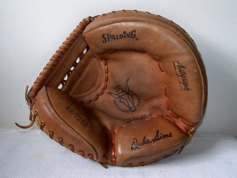 Vtg SPALDING Autograph Model DUKE SIMS Steer Hide Baseball Catcher's Mitt JAPAN