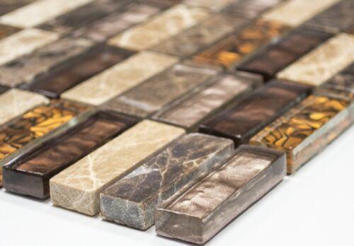 Glasmosaik pierre naturelle BEIGE MARRON Mix Mur Cuisine Salle de Bain WC art:wb87-13101 de coffre