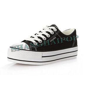Women-Trainers-Canvas-Lace-Up-Plimsolls-Low-Top-Platform-Shoes-Pump-Flat-Sneaker
