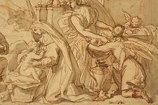 PLATINI disegno inchiostro laviert: allattamento MADONNA ANGELO architettura del 1650