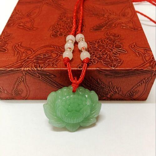 2x natürliche grüne Jade Lotus Anhänger Halskette Mode Glücksbringer Neu new