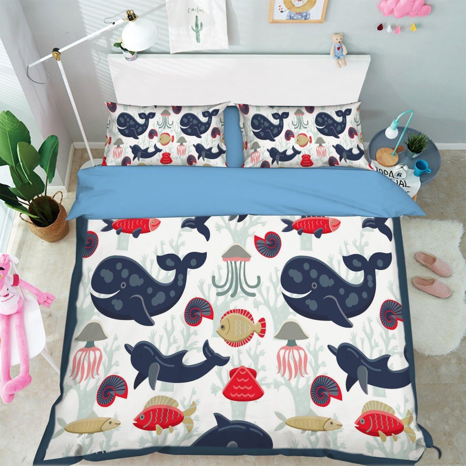 3D Kids Whales 887 Bett Pillowcases Quilt Duvet Startseite Set Single Königin König CA
