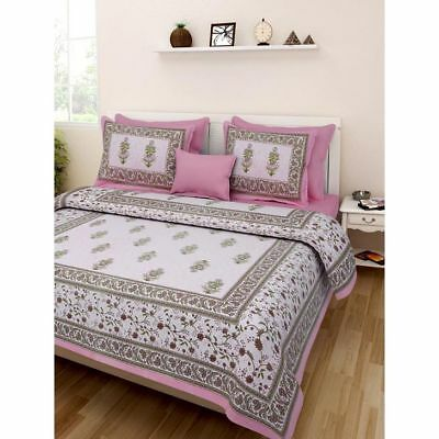 Rajasthani Latest Design Nice Looking 100/% Cotton Bed Sheet 2 Pillow Covers Set