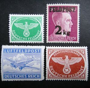 Germany-Nazi-1942-1943-1944-Stamps-MNH-Hitler-Swastika-Eagle-Military-Parcel-Air
