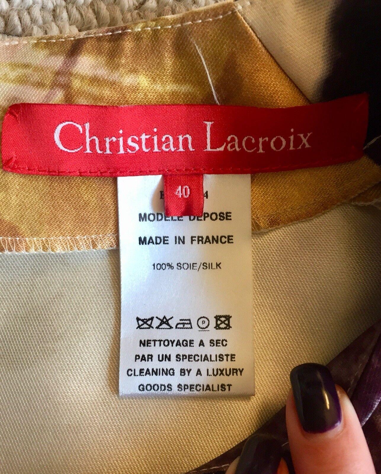CHRISTIAN LACROIX FRANCE Applique Silk Shell Top FRANCE LACROIX 40 b058d0