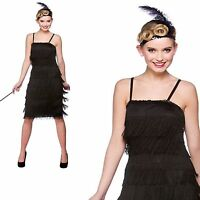 Ladies Black Flapper 1920s Great Gatsby Full Fringe Long Gangster Fancy Dress Si