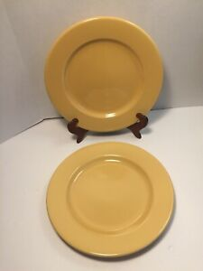 Lot-of-2-Pier-1-Bohemian-Yellow-Gold-Ironstone-Dinner-Plates-10-5-8-034-Brazil