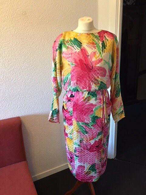 Kleid Gr. 36 Seide bunt festlich ausgefallen unikat Midi 80er Style