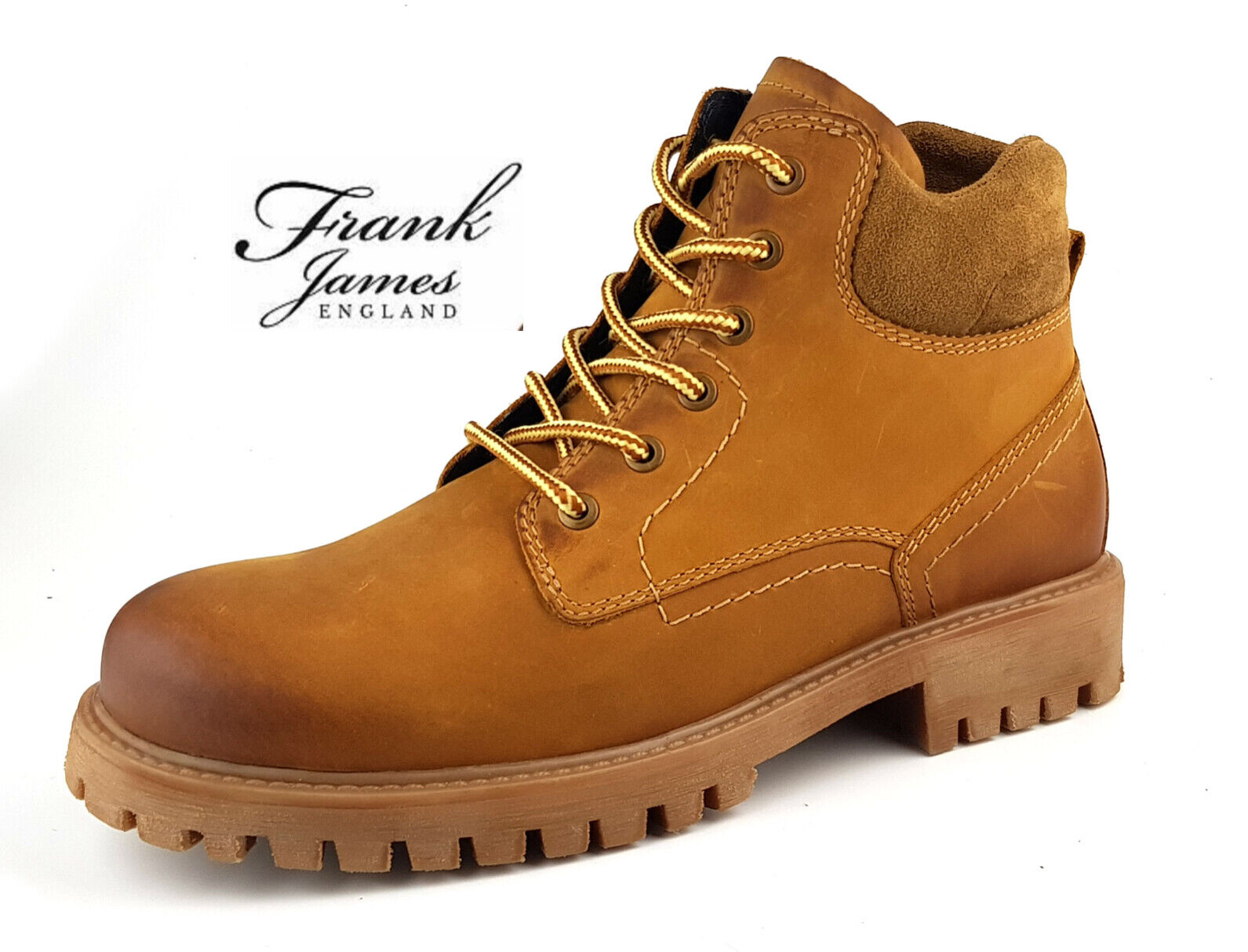 Mens 100% Leather Casual Outdoor Work Lace-up Boots Camel Brown - FJ Bisley 7x12