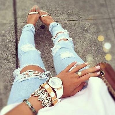 JEANS cutout DESTROYED RIPPED DISTRESSED WOMEN SKINNY SLIM  BLUE Molly