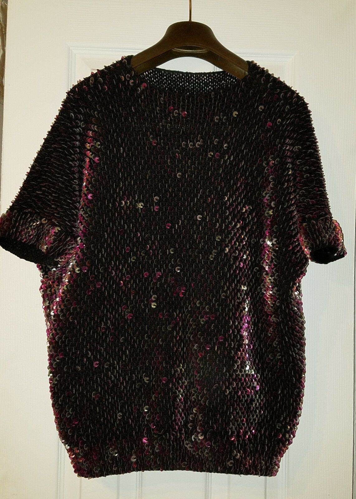 Sweater Sparkle Sequin purple wool short sleeve, one size fits fits fits S, M, L pre-owned 6ba2fa