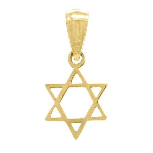 14k Yellow Gold Solid Small Jewish Star of David Charm Pendant 0.4g