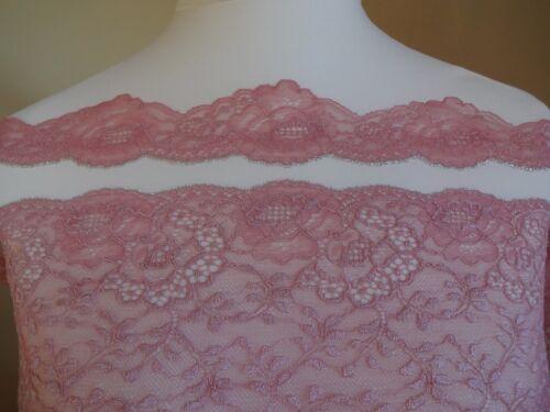Französische elastische Spitze aus Calais in rosa mit silber 5cm breit