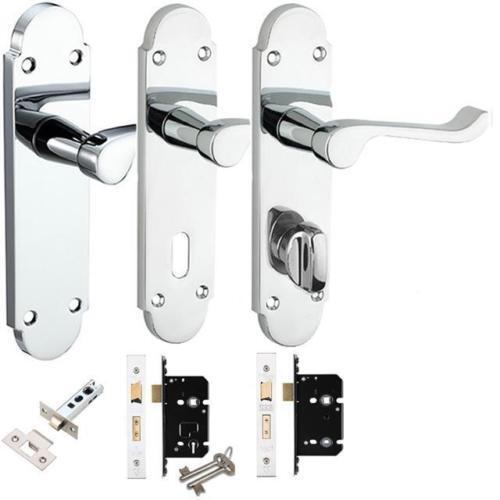 Polished Chrome Epsom Chelsea Internal Door Handle packs Latch Lock /& Bathroom