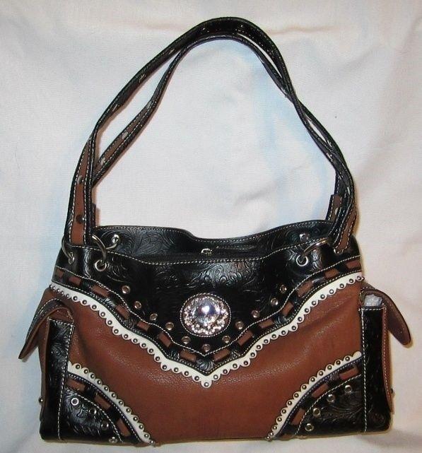 Western Purse-Handbag  2 Tone - Rhinestone Jewel  - New - BA2020-C  new style