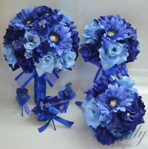 17 piece package wedding bridal bouquet silk flowers blue periwinkle image is loading 17 piece package wedding bridal bouquet silk flowers mightylinksfo