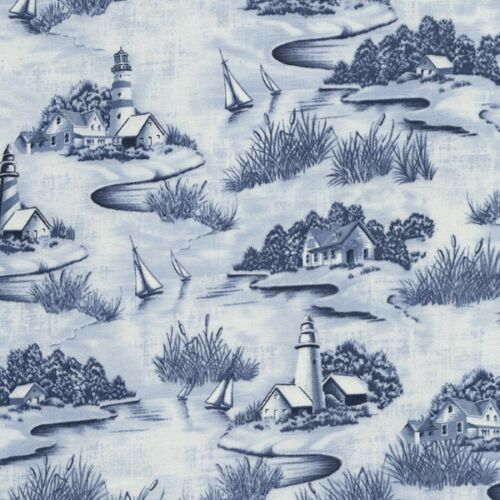 Calming Costal Nautical Sailing Boats And Houses 100/% Cotton Patchwork Fabric