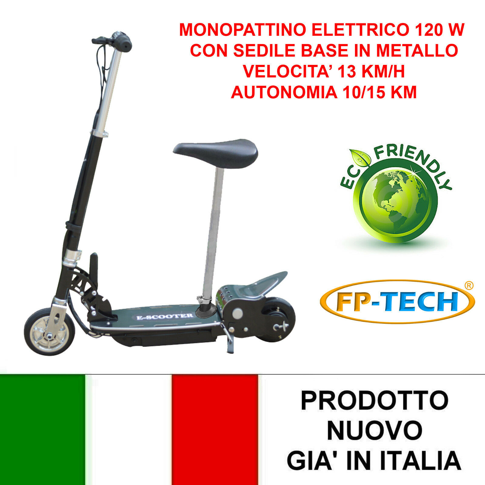 Electric Scooter with Seat 24 V 120w Base Metallic E-Scooter Electric