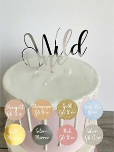 Stupendous Wild One Birthday Cake Topper In 6 Colours Either Glitter Or Birthday Cards Printable Opercafe Filternl
