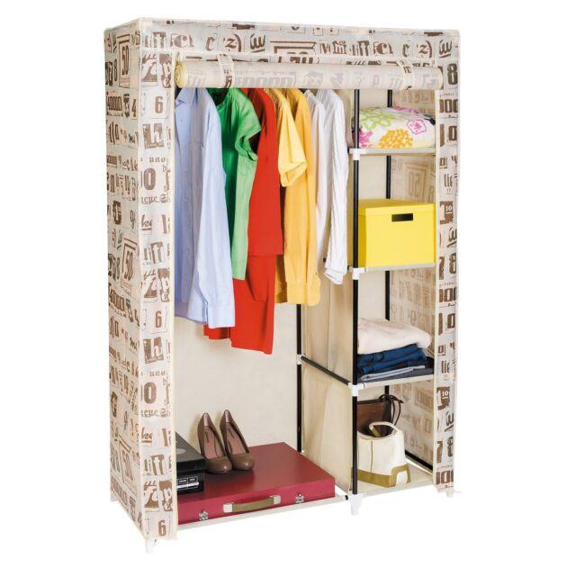 Artmoon Manitoba Double Canvas Wardrobe Closet Cupboard Storage Hanging Rail