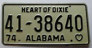 Alabama 1974 LAUDERDALE COUNTY License Plate SUPERB QUALITY # 41-38640