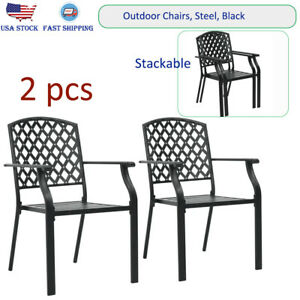 Magnificent Details About 2Pcs Patio Dining Chairs Armchair Stackable Outdoor And Indoor Use Chairs Steel Gmtry Best Dining Table And Chair Ideas Images Gmtryco