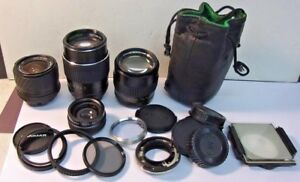 Lot-of-3-Camera-Lenses-amp-Accessories-SIGMA-UC-ZOOM-HANIMEX-AUTO-JC-PENNEY-Sale