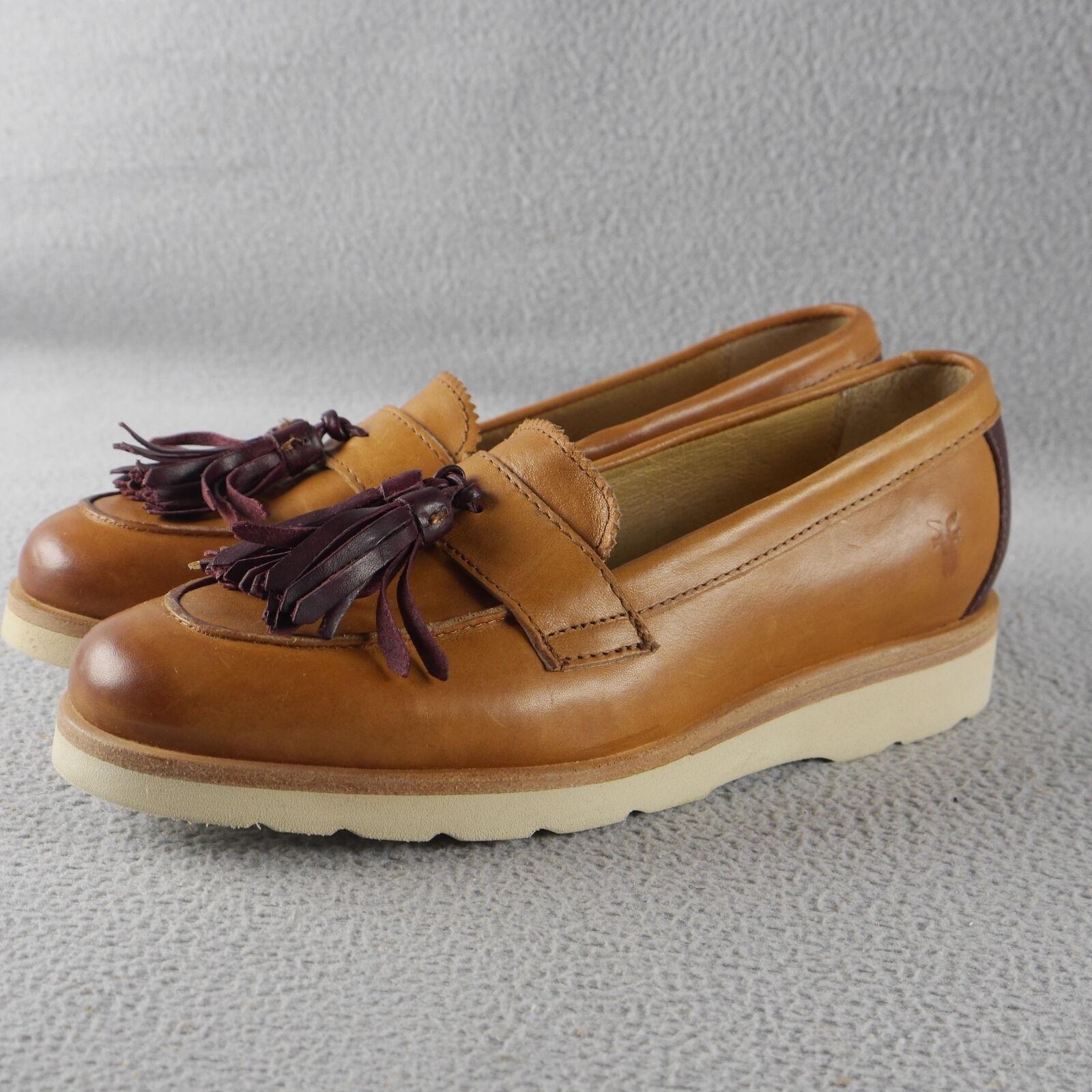 NIB FRYE TASSELED Jade Monk Loafer Loafer Monk TAN LEATHER W/BURG Women's Sizes ANB dd9381