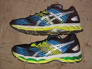 ASICS-Gel-Nimbus-17-Men-Running-Shoes-Sz-10-Black-Blue-Lime-T507N