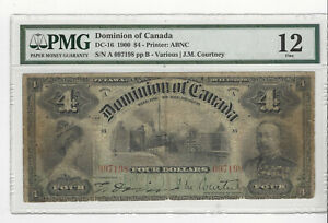 1900 Dominion of Canada $4,Var/Cou #A 097198  DC-16 PMG F-12