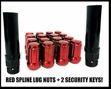24 TOYOTA RED SPLINE LUG NUTS + 2 SECURITY KEYS 12X1.5 FJ TUNDRA 4RUNNER TACOMA